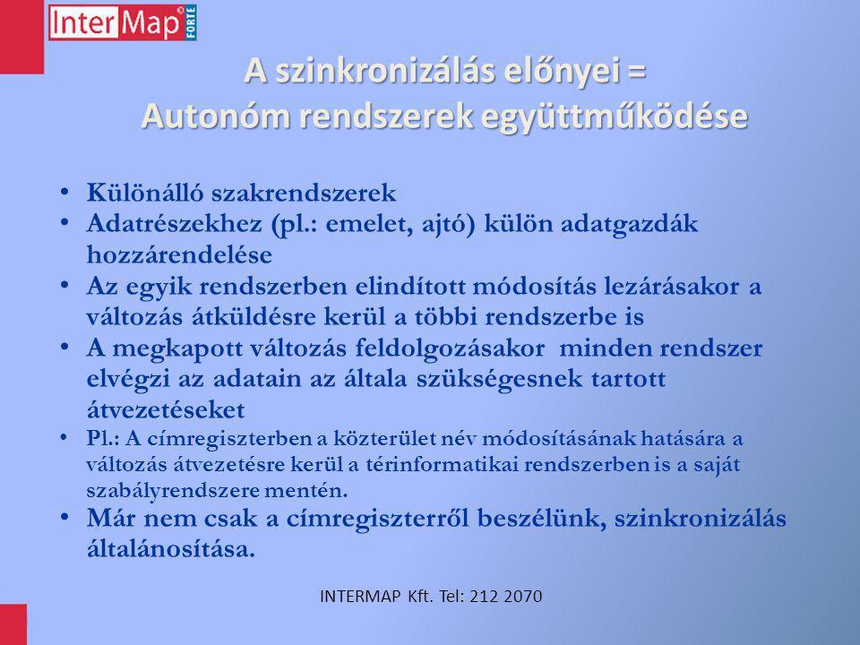 A szinkronizálás előnyei = Autonóm rendszerek együttműködése INTERMAP Kft. Tel: 212 2070 Különálló szakrendszerek Adatrészekhez (pl.: emelet, ajtó) kü