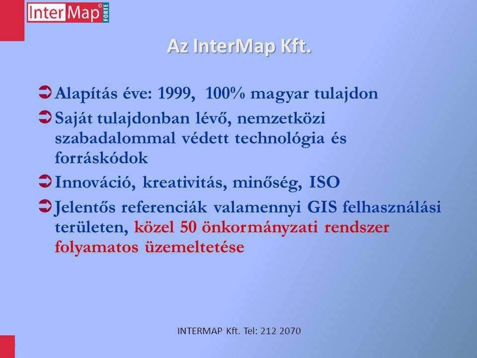 Az InterMap Kft.  Alapítás éve: 1999, 100% magyar tulajdon  Saját tulajdonban lévő, nemzetközi szabadalommal védett technológia és forráskódok  Inn