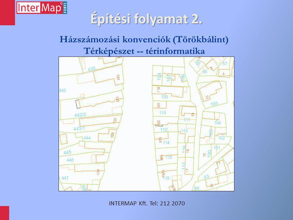 Építési folyamat 2. INTERMAP Kft. Tel: 212 2070 Házszámozási konvenciók (Törökbálint) Térképészet -- térinformatika