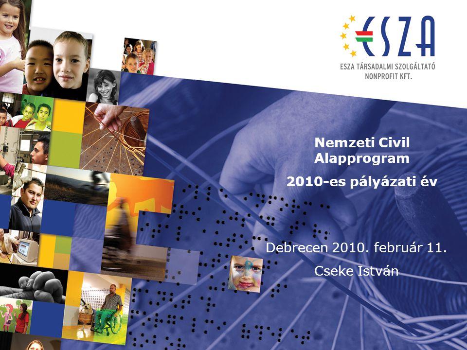 Nemzeti Civil Alapprogram 2010-es pályázati év Debrecen 2010. február 11. Cseke István
