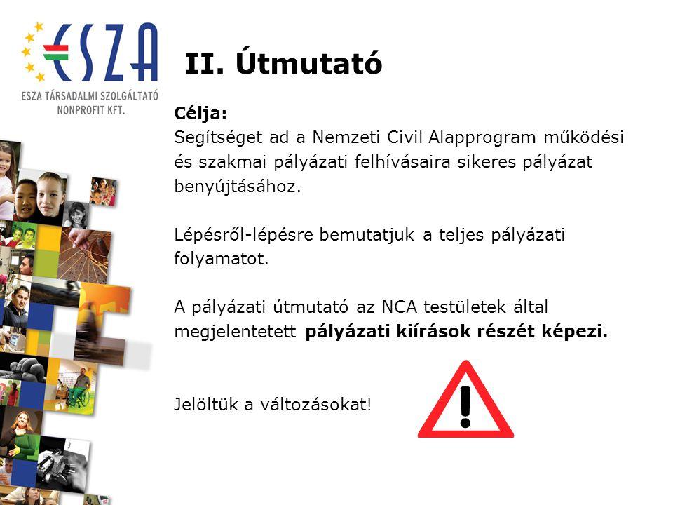 II. Útmutató Célja: Segítséget ad a Nemzeti Civil Alapprogram működési és szakmai pályázati felhívásaira sikeres pályázat benyújtásához. Lépésről-lépé