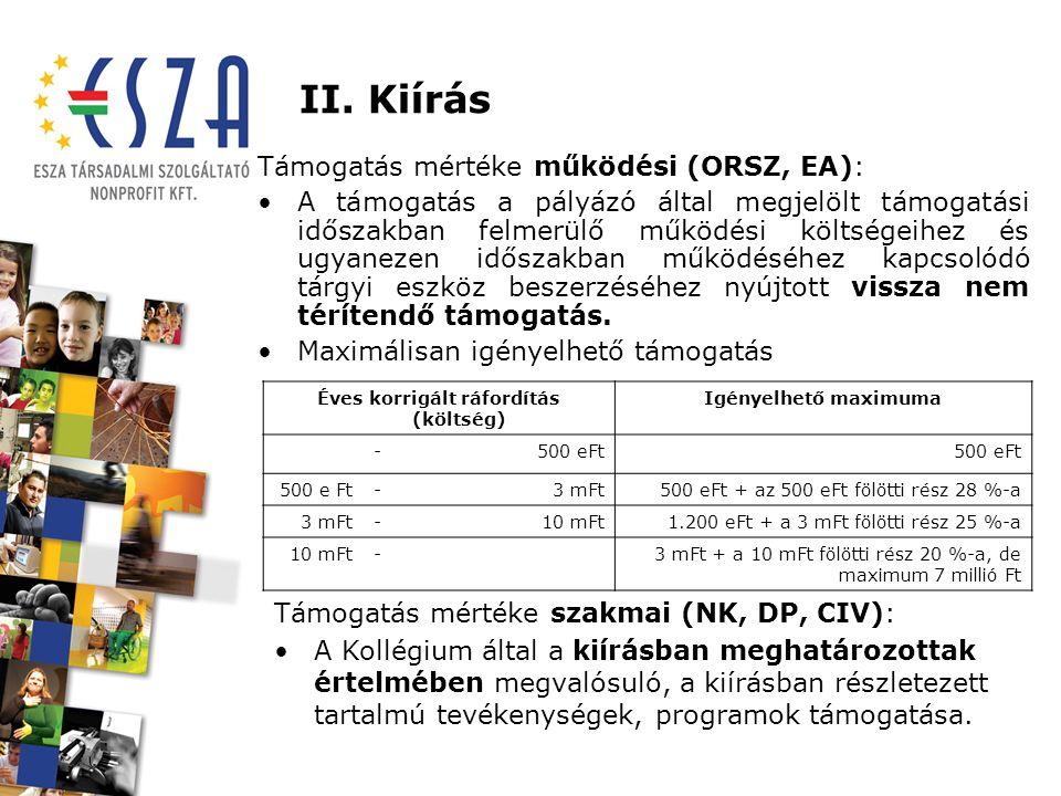 II. Kiírás Támogatás mértéke működési (ORSZ, EA): A támogatás a pályázó által megjelölt támogatási időszakban felmerülő működési költségeihez és ugyan