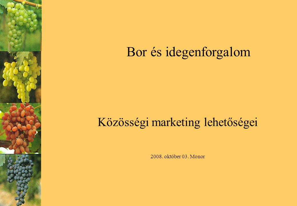 Bor és idegenforgalom Közösségi marketing lehetőségei 2008. október 03. Monor