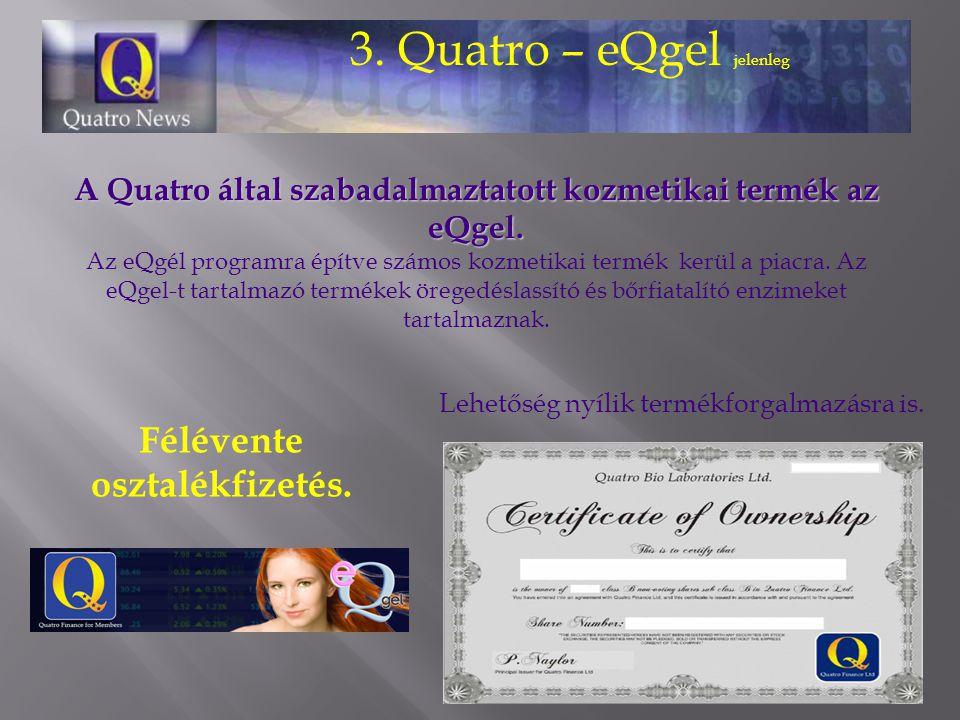 3. Quatro – eQgel jelenleg A Quatro által szabadalmaztatott kozmetikai termék az eQgel. A Quatro által szabadalmaztatott kozmetikai termék az eQgel. A