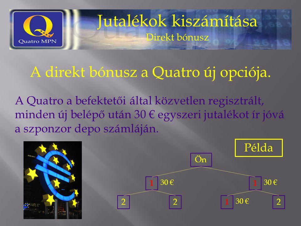 Jutalékok kiszámítása Direkt bónusz A direkt bónusz a Quatro új opciója. A Quatro a befektetői által közvetlen regisztrált, minden új belépő után 30 €