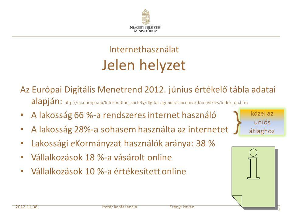 3 közel az uniós átlaghoz Internethasználat Jelen helyzet Az Európai Digitális Menetrend 2012. június értékelő tábla adatai alapján: http://ec.europa.