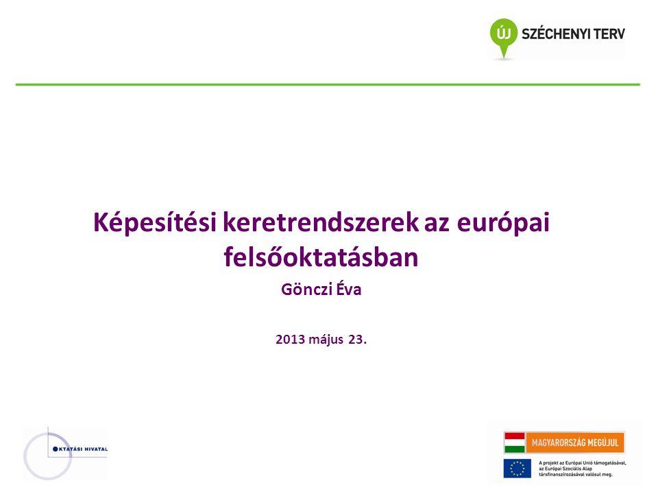 Képesítések az Európai Felsőoktatási Térségben Két (később három) ciklusú képzési szerkezet (1999, 2003) Az első ciklusú képzés szerepe a munkaerő piacon (1999) Elismerés (1998 és később)- Lisbon Recognition Convention Mobilitás Foglalkoztathatóság De a képesítési keretrendszerek említése először – Bologna konferencia Koppenhága 2003 március – Berlini Nyilatkozat 2003 – Bergeni Nyilatkozat 2005