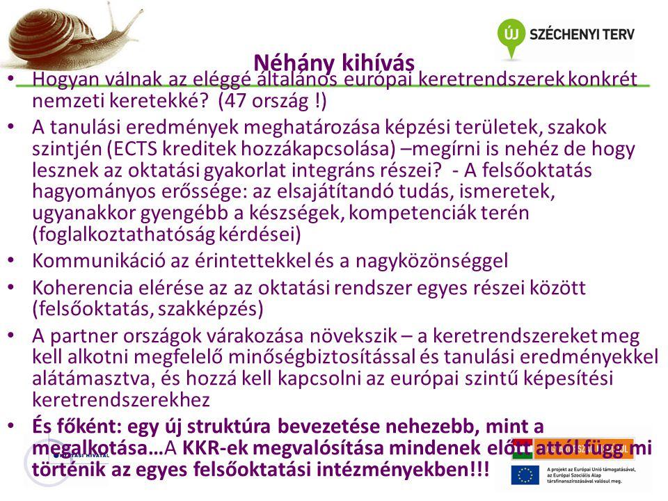 Néhány kihívás Hogyan válnak az eléggé általános európai keretrendszerek konkrét nemzeti keretekké? (47 ország !) A tanulási eredmények meghatározása