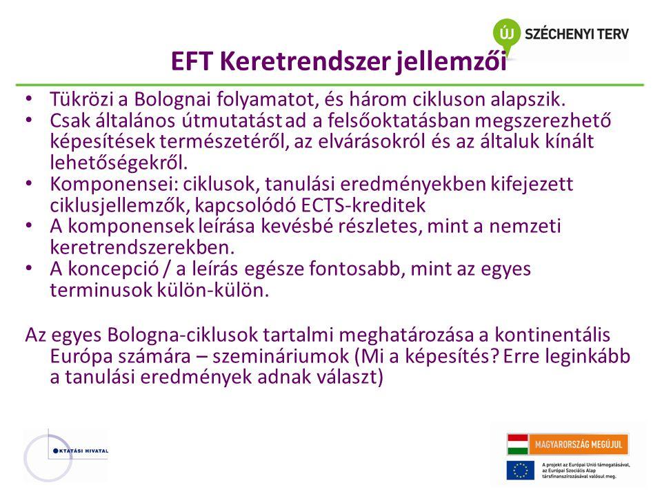 EFT Keretrendszer jellemzői Tükrözi a Bolognai folyamatot, és három cikluson alapszik. Csak általános útmutatást ad a felsőoktatásban megszerezhető ké