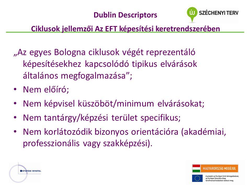 """Dublin Descriptors Ciklusok jellemzői Az EFT képesítési keretrendszerében """"Az egyes Bologna ciklusok végét reprezentáló képesítésekhez kapcsolódó tipi"""