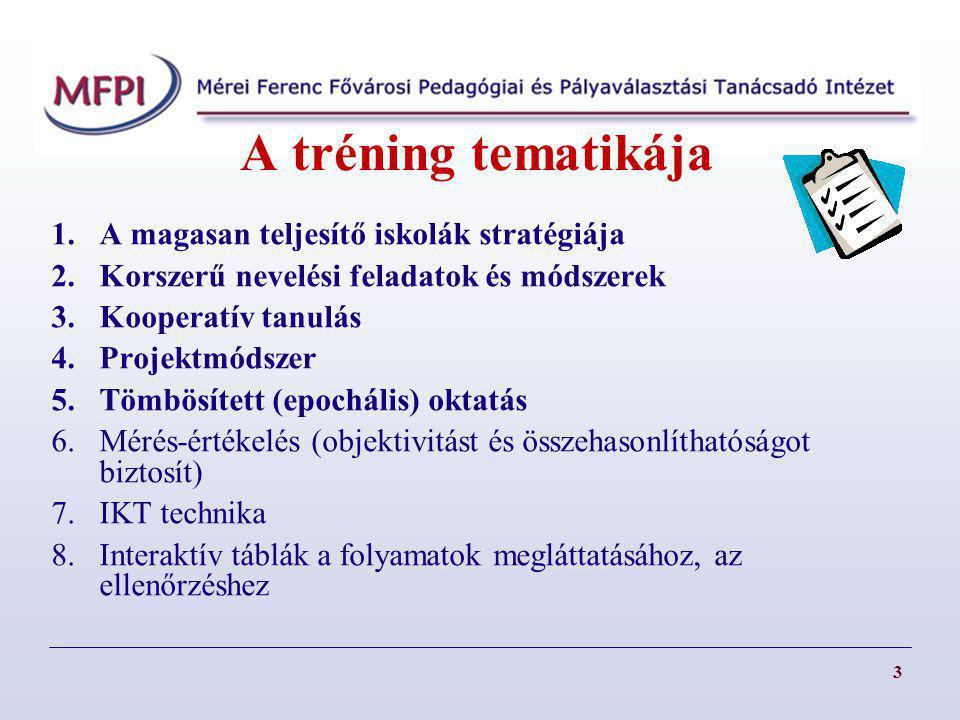 A tréning tematikája 1.A magasan teljesítő iskolák stratégiája 2.Korszerű nevelési feladatok és módszerek 3.Kooperatív tanulás 4.Projektmódszer 5.Tömbösített (epochális) oktatás 6.Mérés-értékelés (objektivitást és összehasonlíthatóságot biztosít) 7.IKT technika 8.Interaktív táblák a folyamatok megláttatásához, az ellenőrzéshez 3