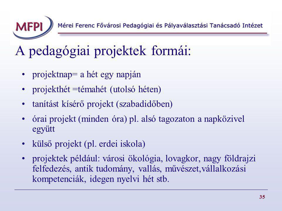 A pedagógiai projektek formái: projektnap= a hét egy napján projekthét =témahét (utolsó héten) tanítást kísérő projekt (szabadidőben) órai projekt (mi