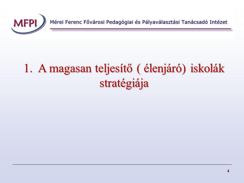 4 1. A magasan teljesítő ( élenjáró) iskolák stratégiája