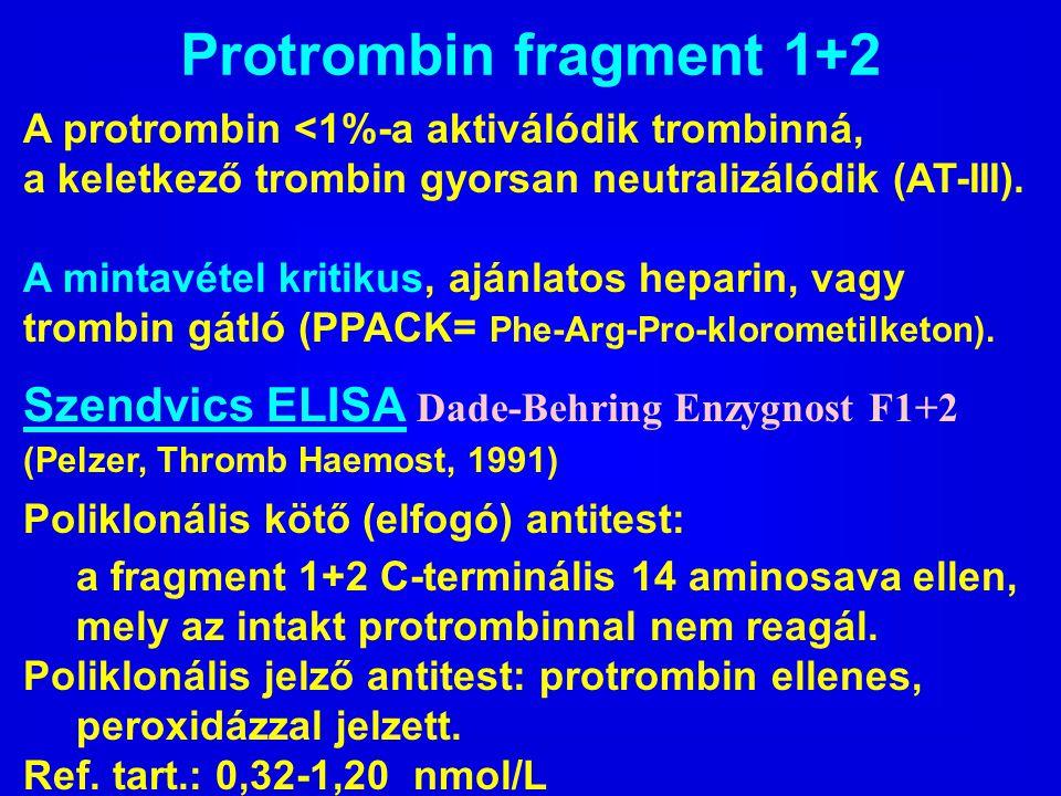 Protrombin fragment 1+2 A protrombin <1%-a aktiválódik trombinná, a keletkező trombin gyorsan neutralizálódik (AT-III). A mintavétel kritikus, ajánlat