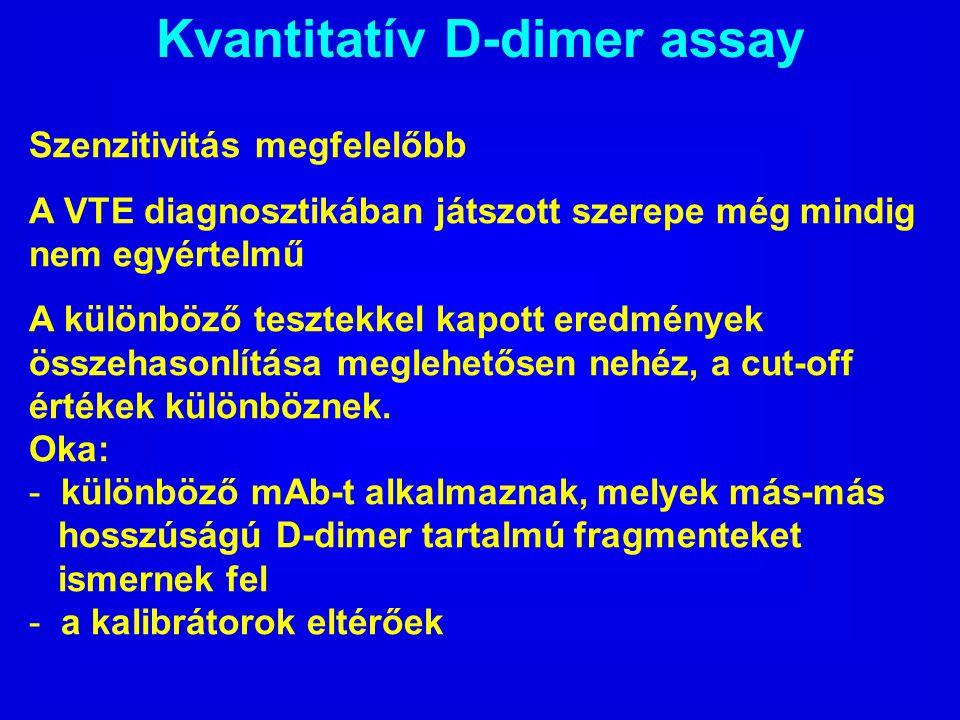 Kvantitatív D-dimer assay Szenzitivitás megfelelőbb A VTE diagnosztikában játszott szerepe még mindig nem egyértelmű A különböző tesztekkel kapott ere