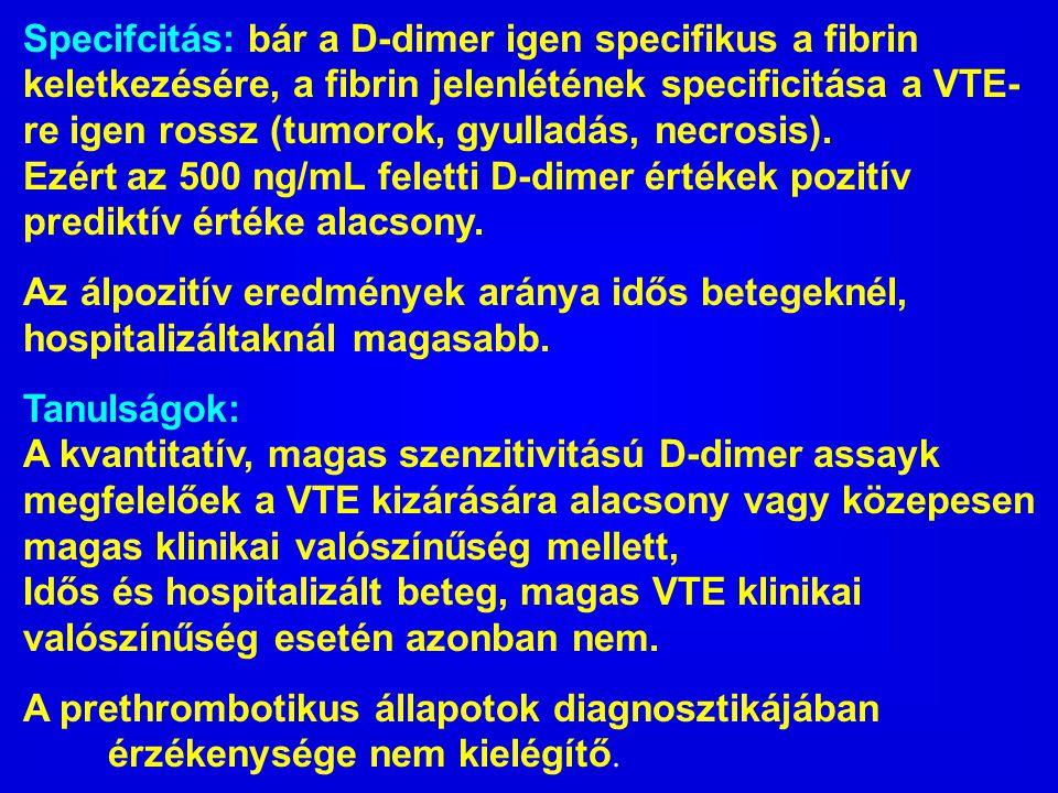 Specifcitás: bár a D-dimer igen specifikus a fibrin keletkezésére, a fibrin jelenlétének specificitása a VTE- re igen rossz (tumorok, gyulladás, necro