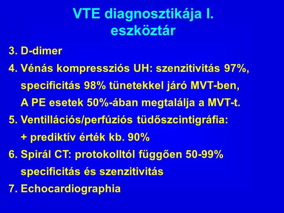 VTE diagnosztikája I. eszköztár 3. D-dimer 4. Vénás kompressziós UH: szenzitivitás 97%, specificitás 98% tünetekkel járó MVT-ben, A PE esetek 50%-ában
