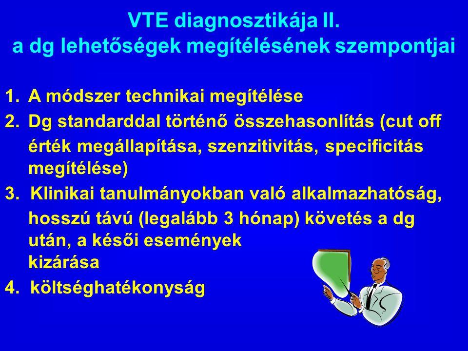 VTE diagnosztikája II. a dg lehetőségek megítélésének szempontjai 1. A módszer technikai megítélése 2. Dg standarddal történő összehasonlítás (cut off
