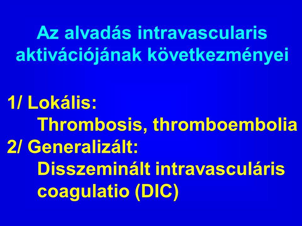 Az alvadás intravascularis aktivációjának következményei 1/ Lokális: Thrombosis, thromboembolia 2/ Generalizált: Disszeminált intravasculáris coagulat