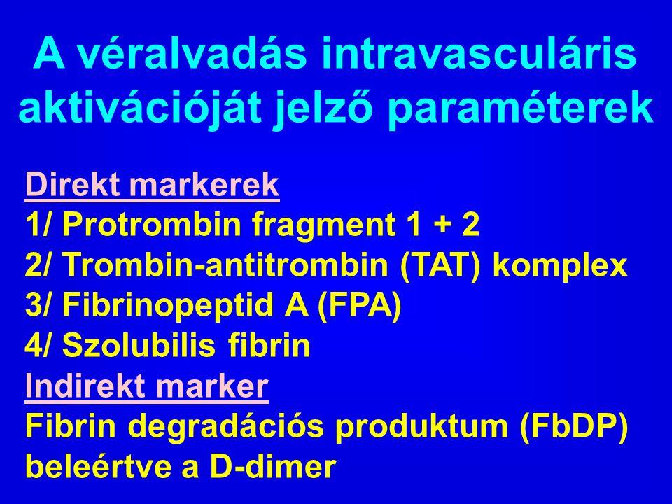 A véralvadás intravasculáris aktivációját jelző paraméterek Direkt markerek 1/ Protrombin fragment 1 + 2 2/ Trombin-antitrombin (TAT) komplex 3/ Fibri
