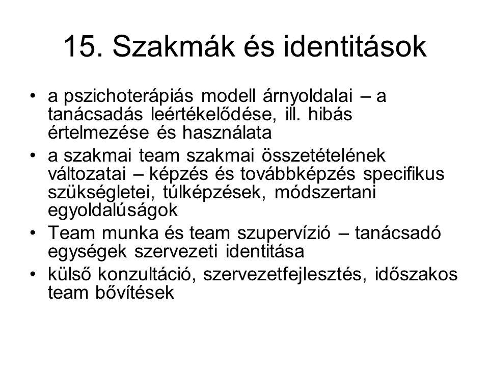 15. Szakmák és identitások a pszichoterápiás modell árnyoldalai – a tanácsadás leértékelődése, ill. hibás értelmezése és használata a szakmai team sza