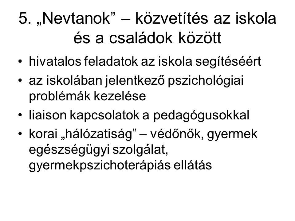 """5. """"Nevtanok"""" – közvetítés az iskola és a családok között hivatalos feladatok az iskola segítéséért az iskolában jelentkező pszichológiai problémák ke"""