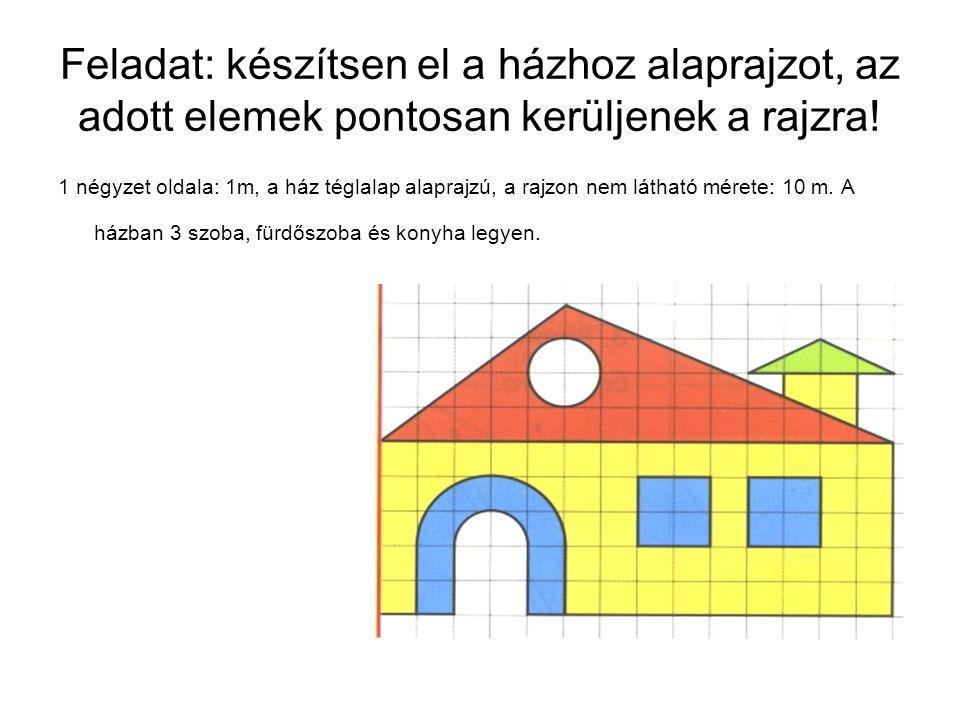 Feladat: készítsen el a házhoz alaprajzot, az adott elemek pontosan kerüljenek a rajzra! 1 négyzet oldala: 1m, a ház téglalap alaprajzú, a rajzon nem