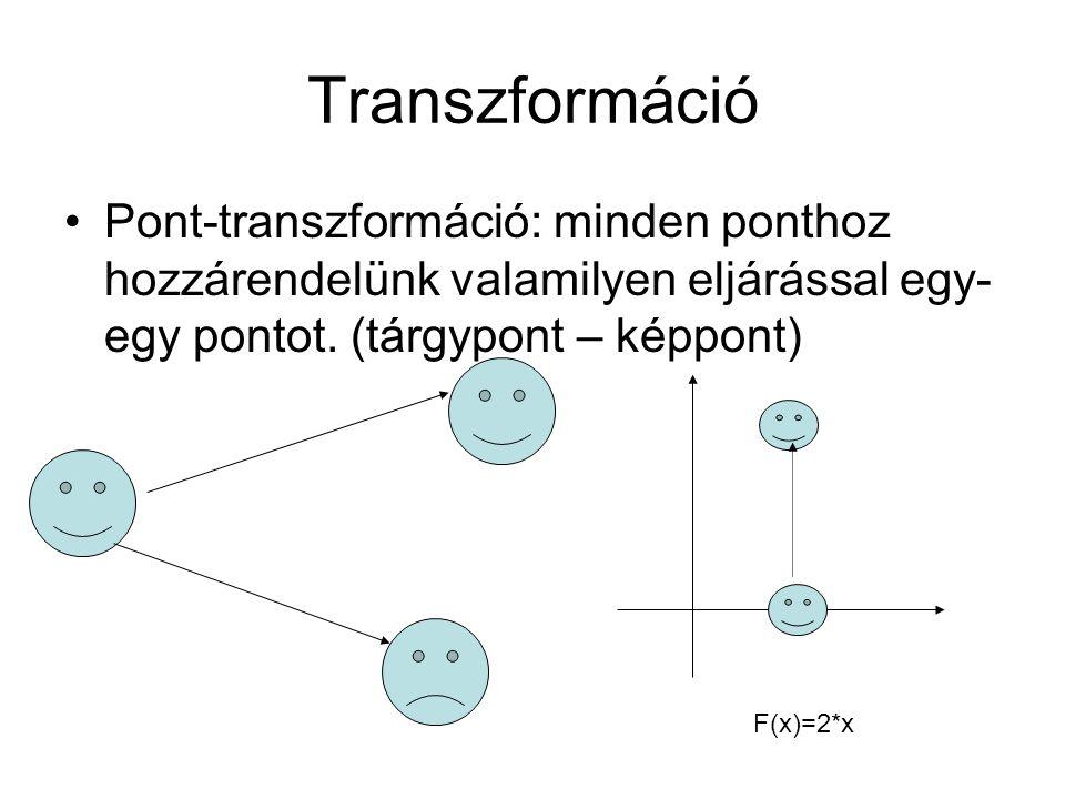Transzformáció Pont-transzformáció: minden ponthoz hozzárendelünk valamilyen eljárással egy- egy pontot. (tárgypont – képpont) F(x)=2*x