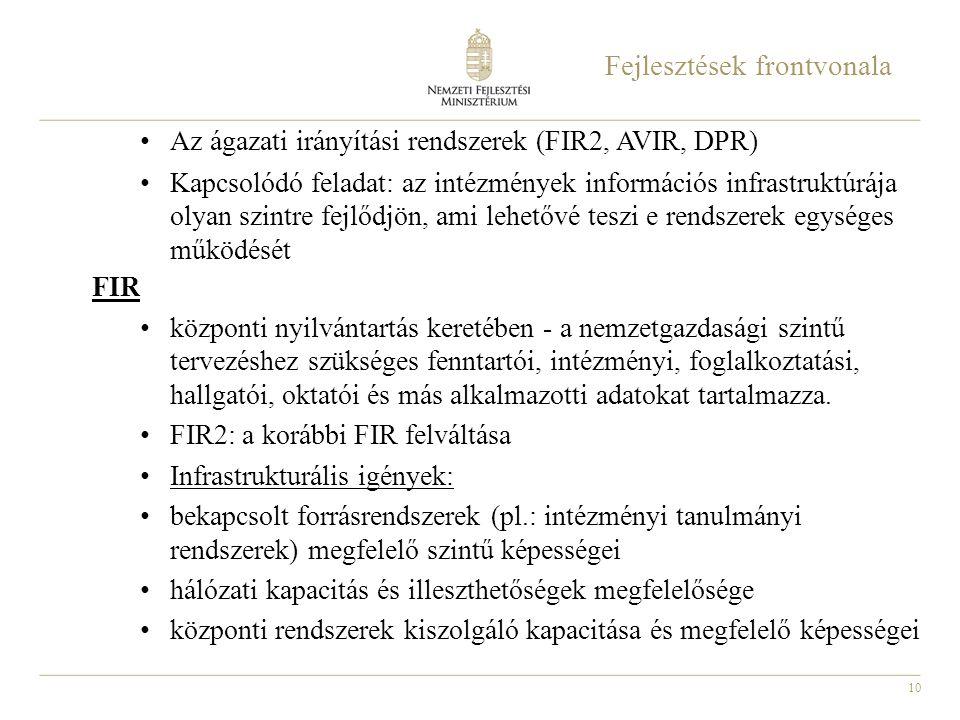 10 Fejlesztések frontvonala Az ágazati irányítási rendszerek (FIR2, AVIR, DPR) Kapcsolódó feladat: az intézmények információs infrastruktúrája olyan s