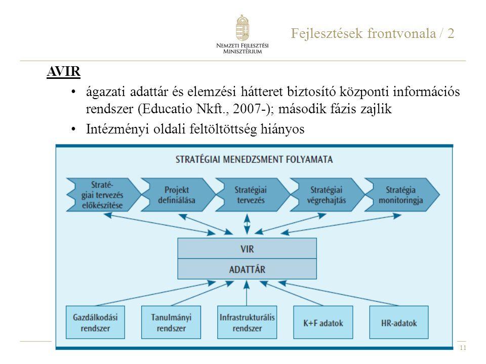 11 Fejlesztések frontvonala / 2 AVIR ágazati adattár és elemzési hátteret biztosító központi információs rendszer (Educatio Nkft., 2007-); második fáz