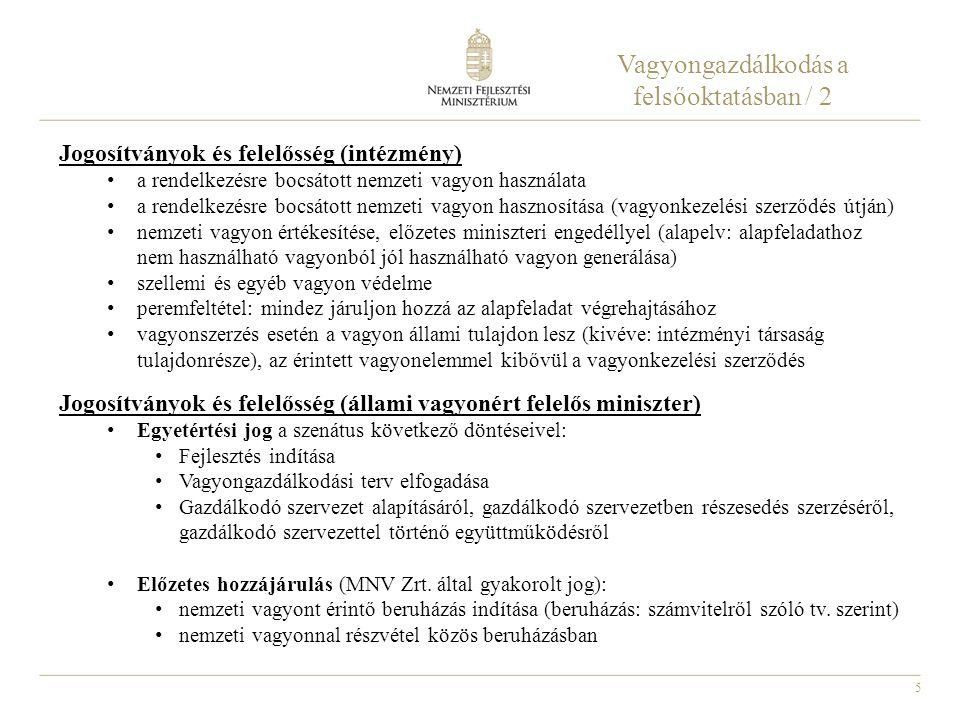 5 Vagyongazdálkodás a felsőoktatásban / 2 Jogosítványok és felelősség (intézmény) a rendelkezésre bocsátott nemzeti vagyon használata a rendelkezésre