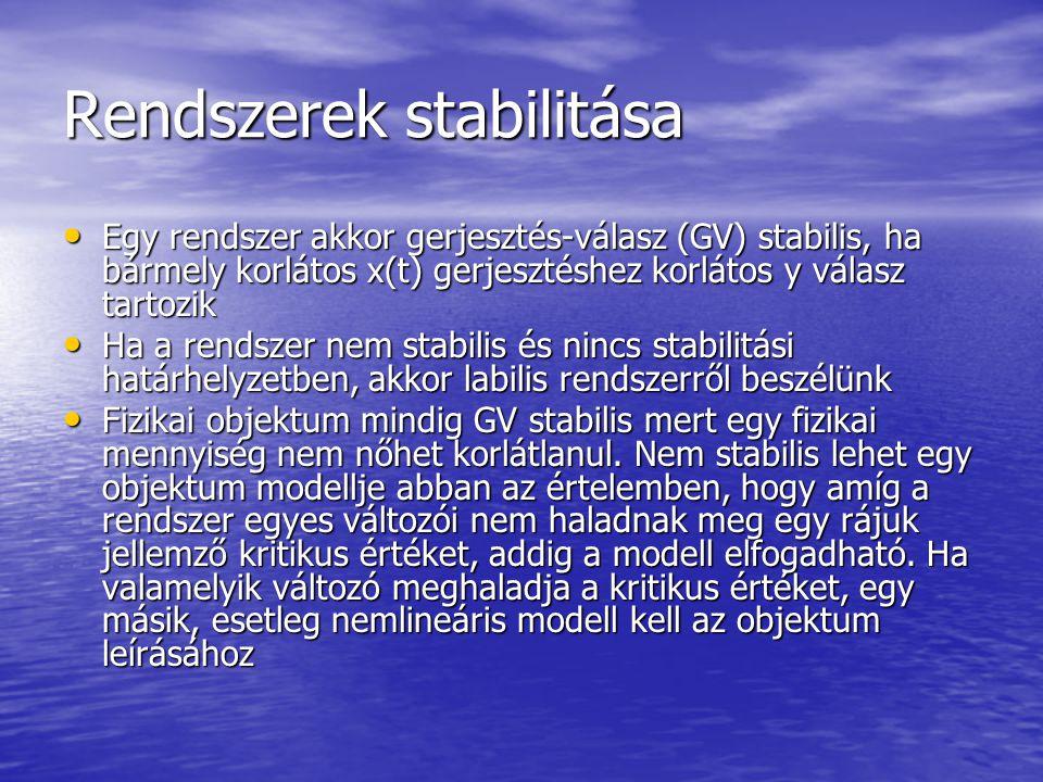 Lineáris és nem lineáris rendszerek A rendszerek jelentős része nemlineáris, elektronikai alkatrészek (Pl.