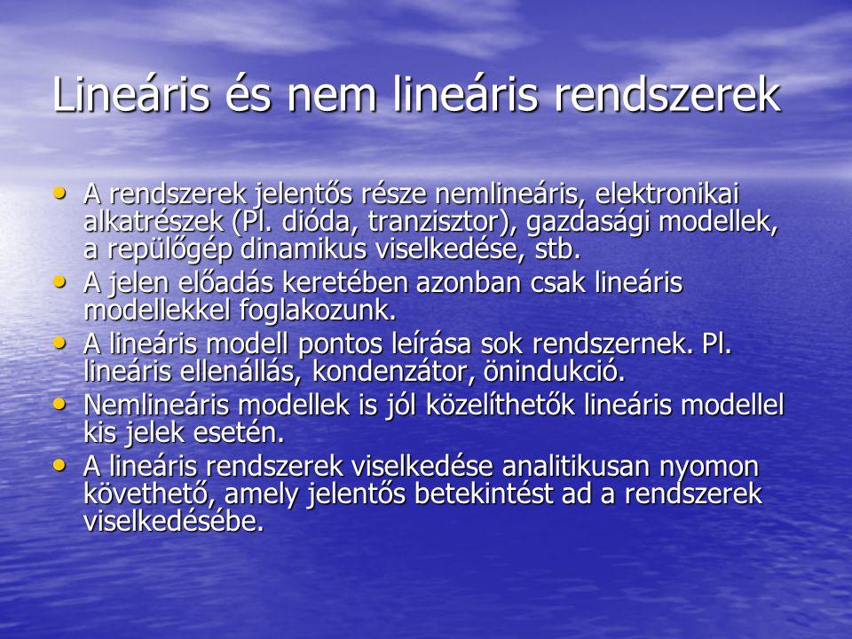Lineáris rendszerek Egy rendszer akkor lineáris, ha érvényes rá a szuperpozíció elve, azaz: Egy rendszer akkor lineáris, ha érvényes rá a szuperpozíció elve, azaz: Haés Akkor Nemlineáris, Idő-invariáns, kauzális rendszer Lineáris, nem idő-ivnariáns, nem kauzális
