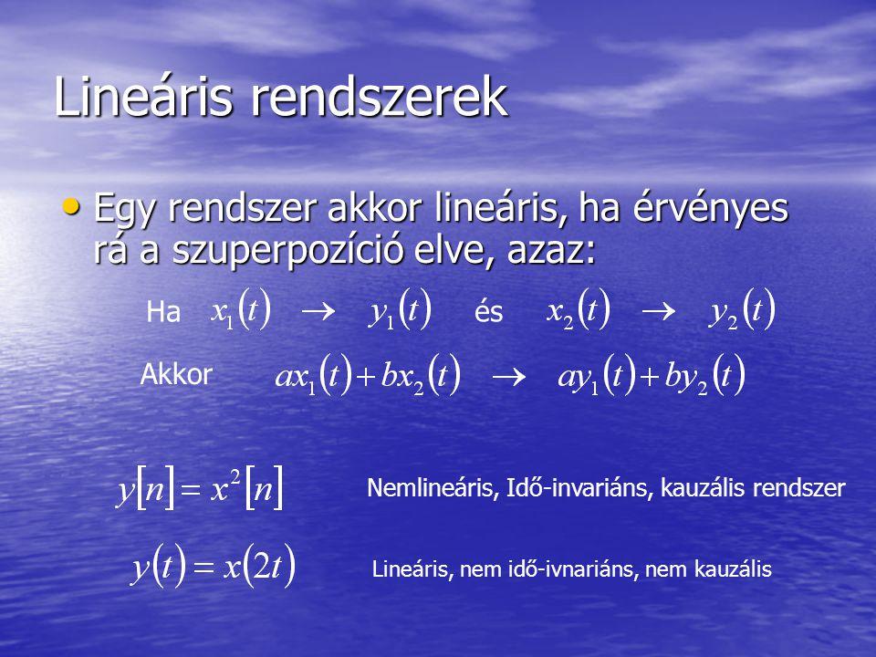 Lineáris rendszerek tulajdonságai Szuperpozíció Szuperpozíció Lineáris rendszer nulla bemenőjelre, nulla kimenőjel a válasz Lineáris rendszer nulla bemenőjelre, nulla kimenőjel a válasz
