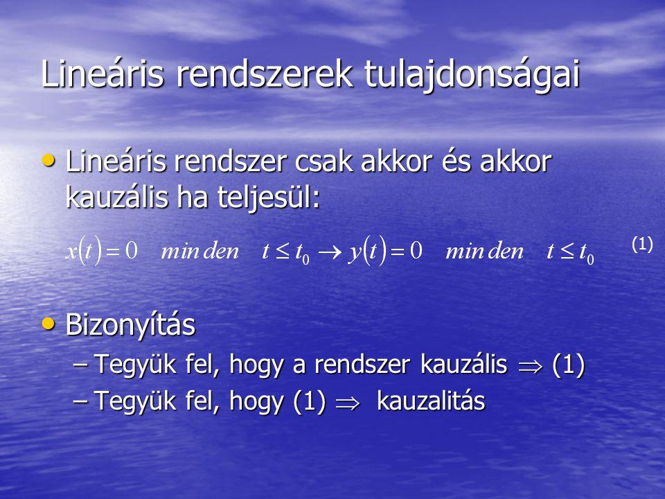 A konvolúció és a diszkrét lineáris invariáns rendszerek tulajdonságai A diszkrét lineáris invariáns rendszert teljesen jellemzi az egység impulzus függvényre adott válasza A diszkrét lineáris invariáns rendszert teljesen jellemzi az egység impulzus függvényre adott válasza Sok olyan rendszer amelynek ez a válasza  [n] -re Azonban csak egy lineáris invariáns rendszer van, amelynek ez a válasza  [n] -re