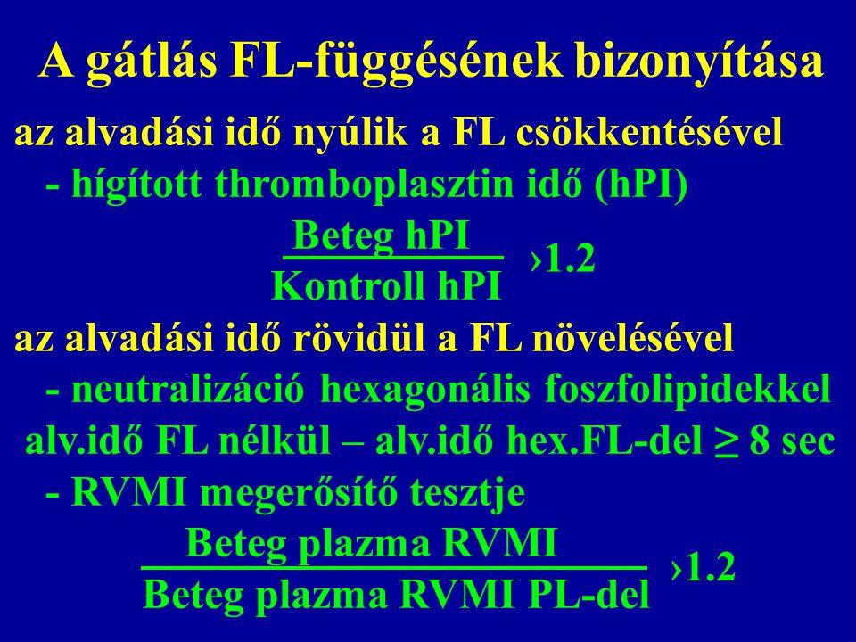 A gátlás FL-függésének bizonyítása az alvadási idő nyúlik a FL csökkentésével - hígított thromboplasztin idő (hPI) Beteg hPI Kontroll hPI az alvadási idő rövidül a FL növelésével - neutralizáció hexagonális foszfolipidekkel alv.idő FL nélkül – alv.idő hex.FL-del ≥ 8 sec - RVMI megerősítő tesztje Beteg plazma RVMI Beteg plazma RVMI PL-del ›1.2