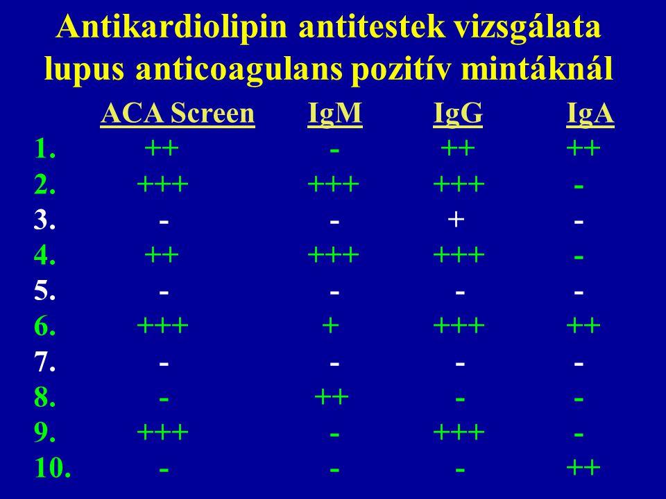 Antikardiolipin antitestek vizsgálata lupus anticoagulans pozitív mintáknál ACA Screen IgMIgGIgA 1. ++ - ++++ 2. +++ ++++++ - 3. - - + - 4. ++ ++++++