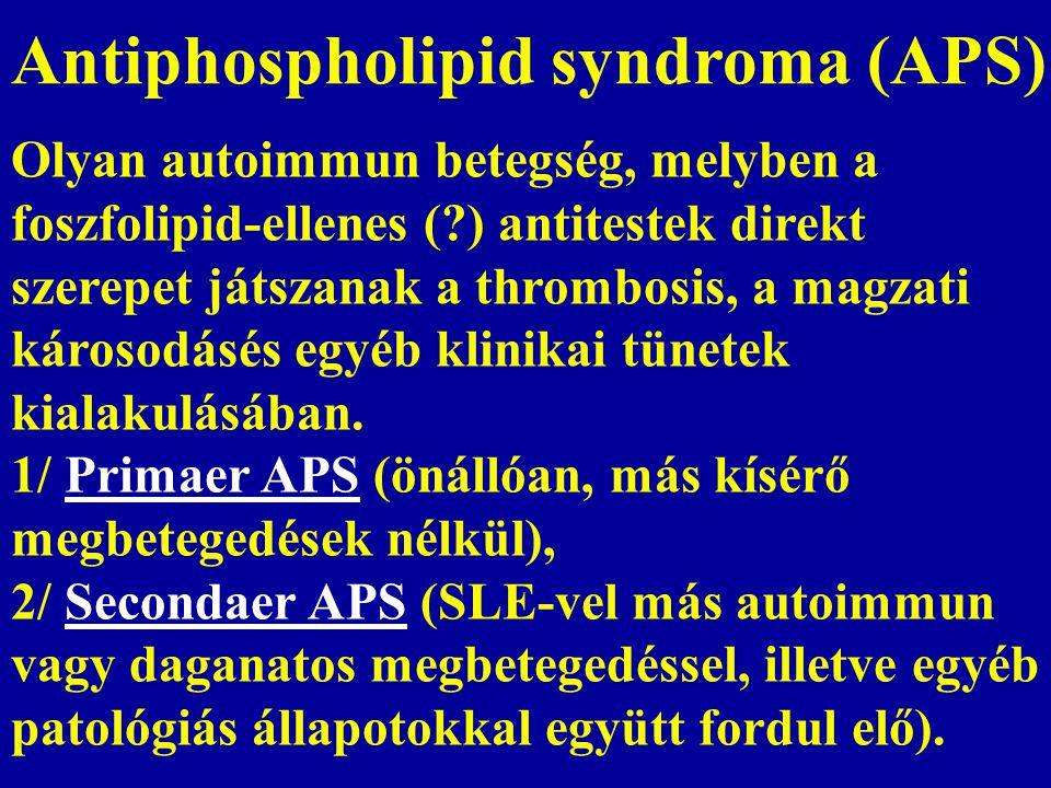 Antiphospholipid syndroma (APS) Olyan autoimmun betegség, melyben a foszfolipid-ellenes (?) antitestek direkt szerepet játszanak a thrombosis, a magza