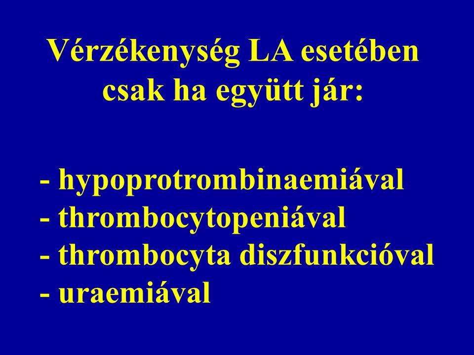 Vérzékenység LA esetében csak ha együtt jár: - hypoprotrombinaemiával - thrombocytopeniával - thrombocyta diszfunkcióval - uraemiával