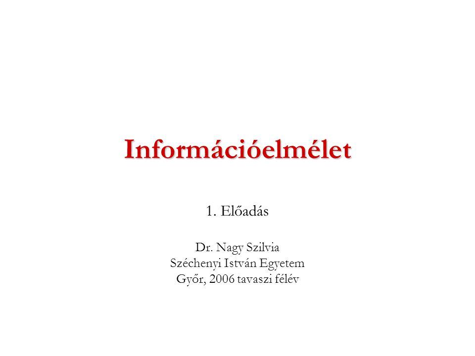 Információelmélet 1. Előadás Dr. Nagy Szilvia Széchenyi István Egyetem Győr, 2006 tavaszi félév