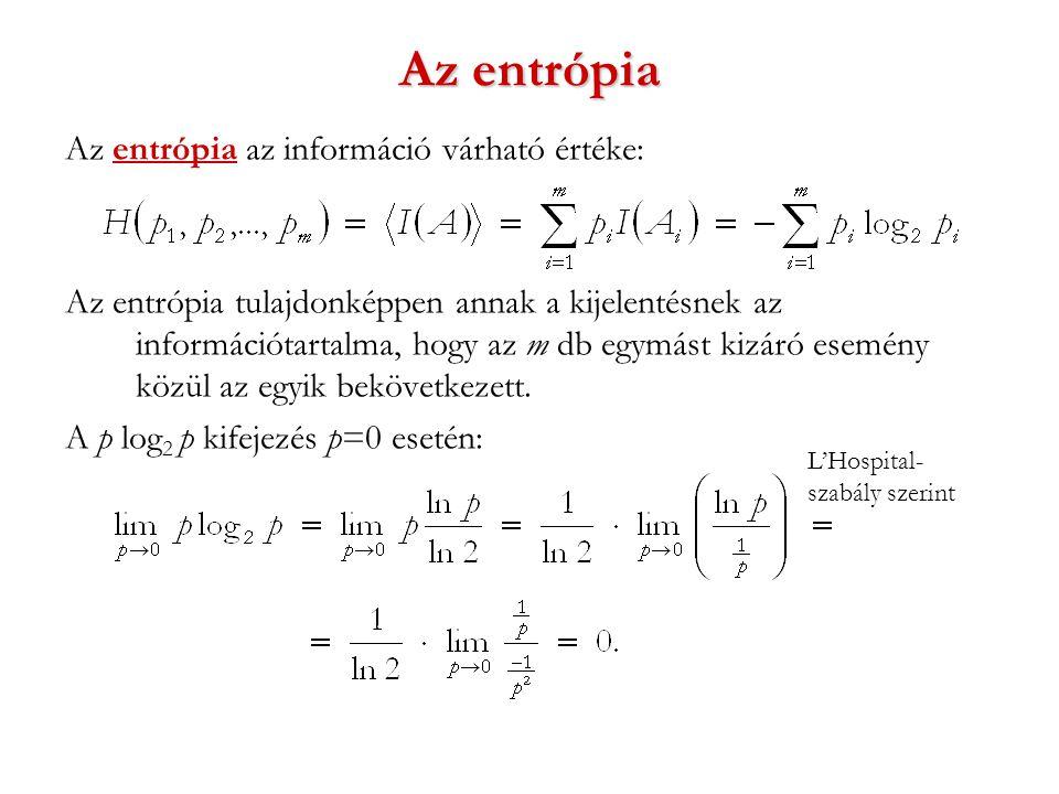 Az entrópia Az entrópia az információ várható értéke: Az entrópia tulajdonképpen annak a kijelentésnek az információtartalma, hogy az m db egymást kizáró esemény közül az egyik bekövetkezett.