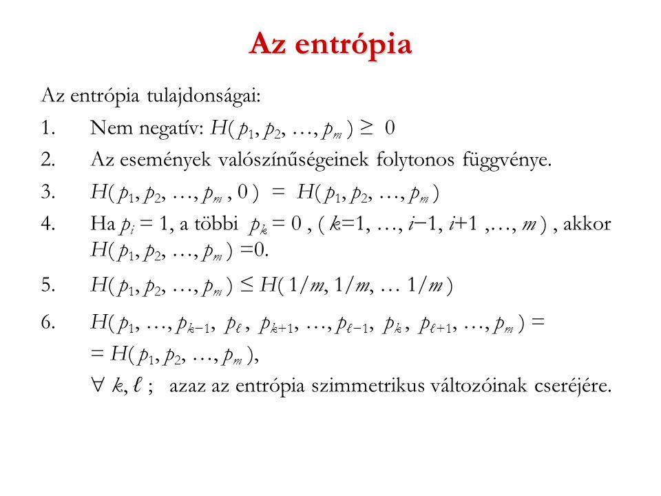 Az entrópia Az entrópia tulajdonságai: 1. Nem negatív: H( p 1, p 2, …, p m ) ≥ 0 2.