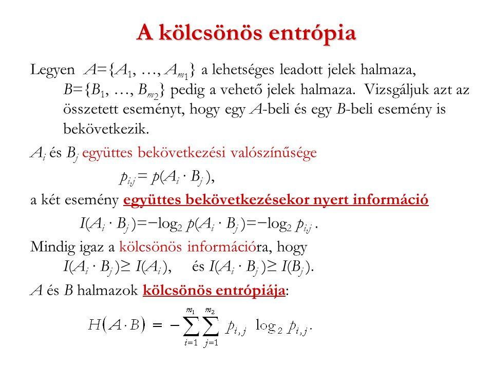A kölcsönös entrópia Legyen A={A 1, …, A m 1 } a lehetséges leadott jelek halmaza, B={B 1, …, B m 2 } pedig a vehető jelek halmaza.