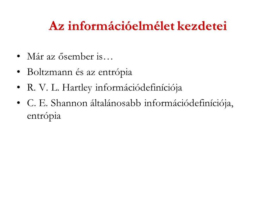 Az információelmélet kezdetei Már az ősember is… Boltzmann és az entrópia R.