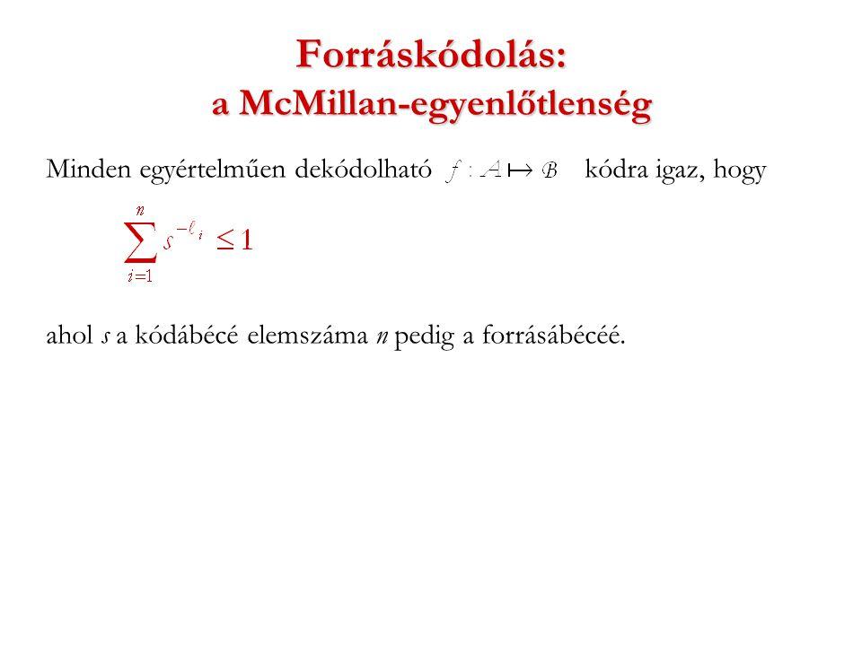 Forráskódolás: a McMillan-egyenlőtlenség Minden egyértelműen dekódolható kódra igaz, hogy ahol s a kódábécé elemszáma n pedig a forrásábécéé.