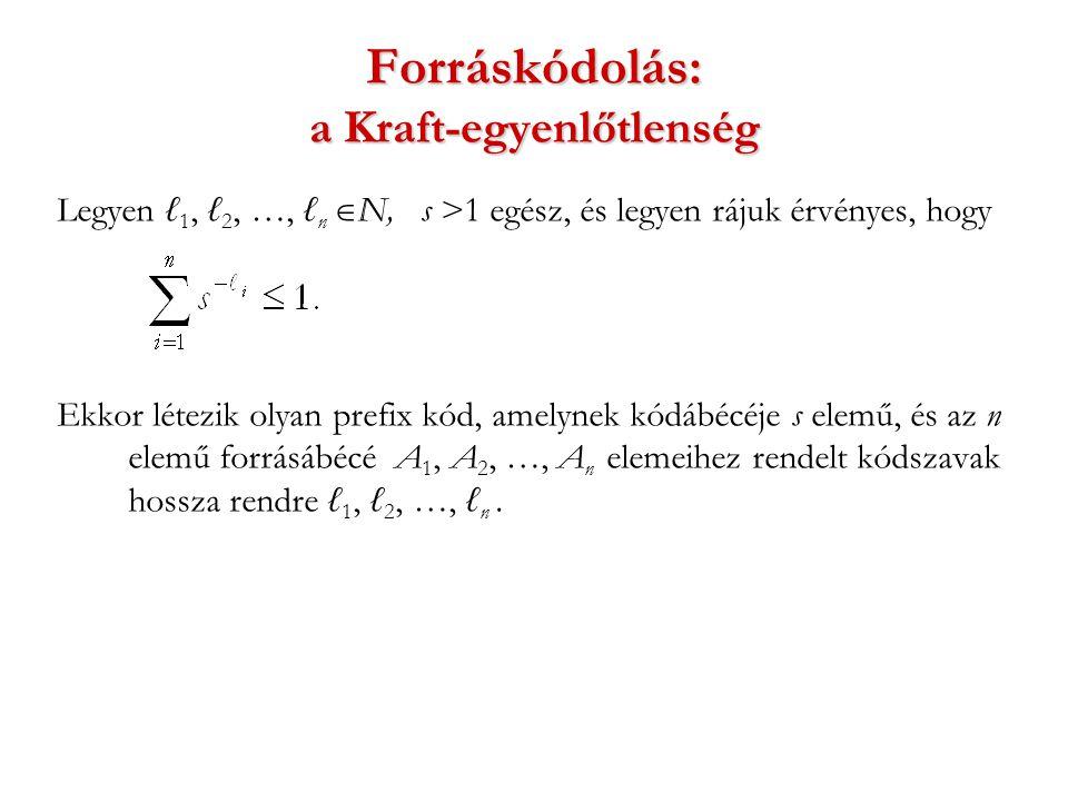 Forráskódolás: a Kraft-egyenlőtlenség Legyen ℓ 1, ℓ 2, …, ℓ n  N, s >1 egész, és legyen rájuk érvényes, hogy Ekkor létezik olyan prefix kód, amelynek kódábécéje s elemű, és az n elemű forrásábécé A 1, A 2, …, A n elemeihez rendelt kódszavak hossza rendre ℓ 1, ℓ 2, …, ℓ n.