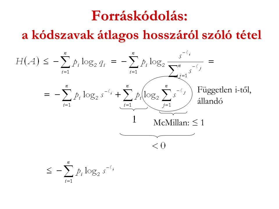 Forráskódolás: a kódszavak átlagos hosszáról szóló tétel Független i-től, állandó McMillan: ≤ 1