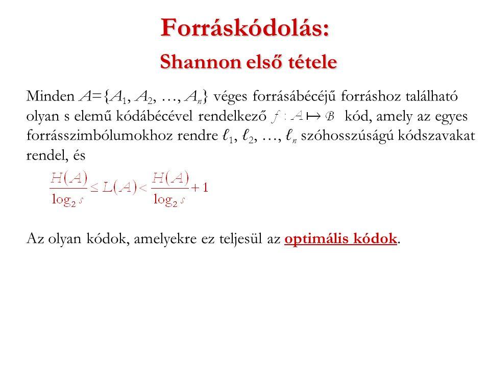 Forráskódolás: Shannon első tétele Minden A={A 1, A 2, …, A n } véges forrásábécéjű forráshoz található olyan s elemű kódábécével rendelkező kód, amely az egyes forrásszimbólumokhoz rendre ℓ 1, ℓ 2, …, ℓ n szóhosszúságú kódszavakat rendel, és Az olyan kódok, amelyekre ez teljesül az optimális kódok.