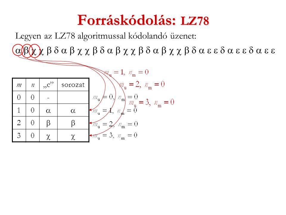 """Forráskódolás: LZ78 Legyen az LZ78 algoritmussal kódolandó üzenet:  mn""""c sorozat 00- 10  20  30 """