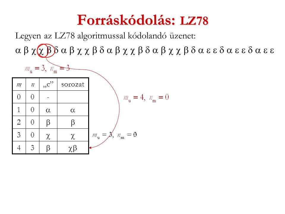 """Forráskódolás: LZ78 Legyen az LZ78 algoritmussal kódolandó üzenet:  mn""""c sorozat 00- 10  20  30  43 """